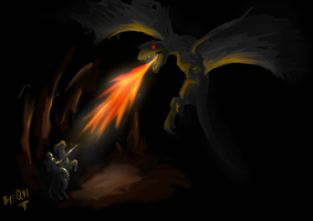 Dragon in the cave by Qvi