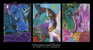 Oil Pastel Series: Princesses and Villains by StarrenPiece