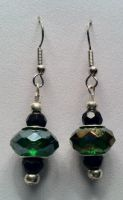 green beaded earrings by bandgeek845