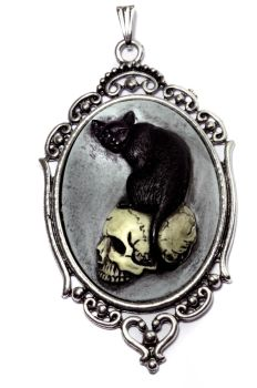 Victorian  Goth Jewelry - Pendant - cat on skull by CatherinetteRings