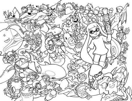 Go Fish poster lineart by Thormeister