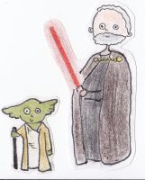 Paper Star Wars - Yoda and Count Dooku by Glorfindelle