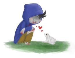 Lil' Keith found a bunny by roseannepage
