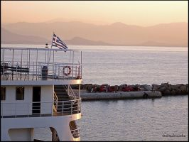 Greek flag at dawn by airtobreathe