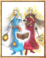 Commission - Dungeons 'n Dragons - Twin Clerics by Orcagirl2001