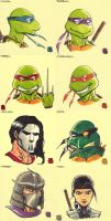 Sticky Note Sketches - TMNT by WizardOfAuz