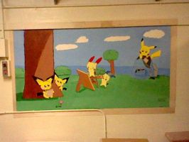 Pokemon high school project wall drawing by Legendrawing