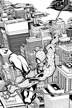 Spidey swinging over the city by ElVlasco