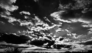 piercing through the sky black and white by airsteve