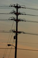 Telephone Pole At Dusk by kingkool6
