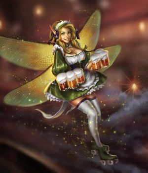 Green Fairy Waitress by curlyhair