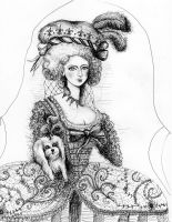 Queen Marie Antoinette with Maltese dog by taraozella
