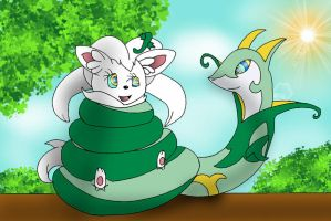 Serperior Captures Cinccino by Kiniun-Latios