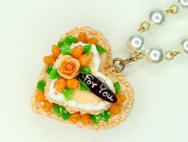 Orange Heart Cake Necklace by SweetandCo