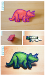 Triceratops Brooches by Lydia-distracted