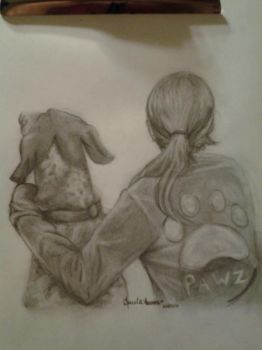 A girl and her dog by JenJentastique