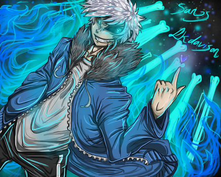 Human sans, the blue flame by sonicfangirl666