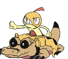 Scraggy and that one other pokemon- Sandile by PandaTheBox