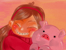 Mabel and waddles by X3carlyX3