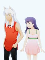 Inuyasha and Kagome by ghost-youkai