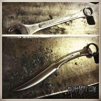 Up-cycled Wrench into a knife and bottle opener by isolatedreality