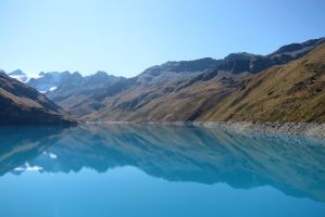 Moiry Dam Mirror water 2 by elodie50a