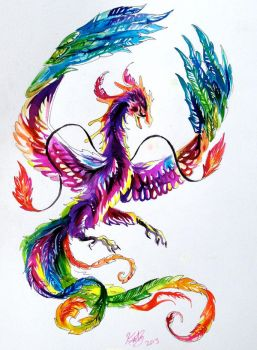 Rainbow Phoenix Tattoo by Lucky978