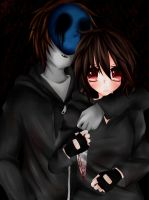 Eyeless Jack and X :art trade: by Ren-Ryuki