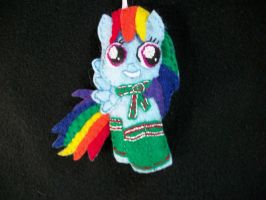 RAINBOW DASH Keeping Warm handsewn Pony Ornament by grandmoonma