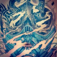 Freehand Skull within a Gasmask wip by Uken