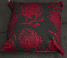 Pillow Red Flowers by RecreateStock