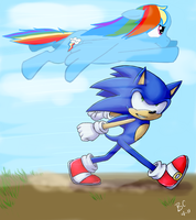 Sonic and Rainbow Dash by Blue-Chica