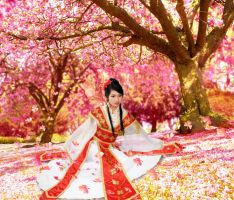 Under a cherry blossom tree (Photomanipulation) by joycego