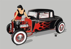 hot rod and girl by cryingbear by ClubBBW