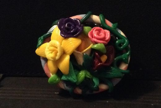 Floral pin polymer clay by Butterfly-Aria