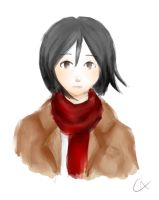 An extemely confused Mikasa by Kyasuni