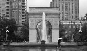 Washington square on a rainy day BW by ArtieWallace