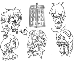 Miss Doctor and her Companions [Lineart] by MissGallifrey