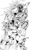 avengers assemble inked WIP by gammaknight