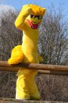 Honey Bass Fursuit outside Shoot by BassPlushProductions