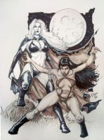 Lady Death and Vampirella, SDCC 2011 Sketch Salaza by EDGARSALAZAR