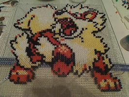 Arcanine Perler beads by TheDMWarrior