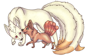 Ninetails and Vulpix by dancingdingos