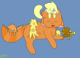 Flarefluff and Marsie's Family by MarsieZeWerewolfie