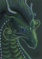Emerald Dragon ACEO by Kelesaii