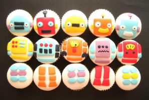 Robot cupcakes by sagethemouse