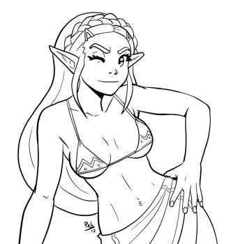 Zelda for colouring by Pablocomics