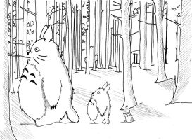 Totoro-Lineart by LinBer