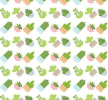 Water pot painted succulents seamless background by FreeIconsdownload