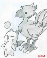Chocobo and Moogle by Puppy-of-Doom
